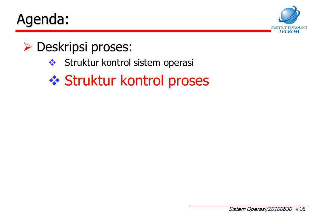 Sistem Operasi/20100830 #16 Agenda:  Deskripsi proses:  Struktur kontrol sistem operasi  Struktur kontrol proses
