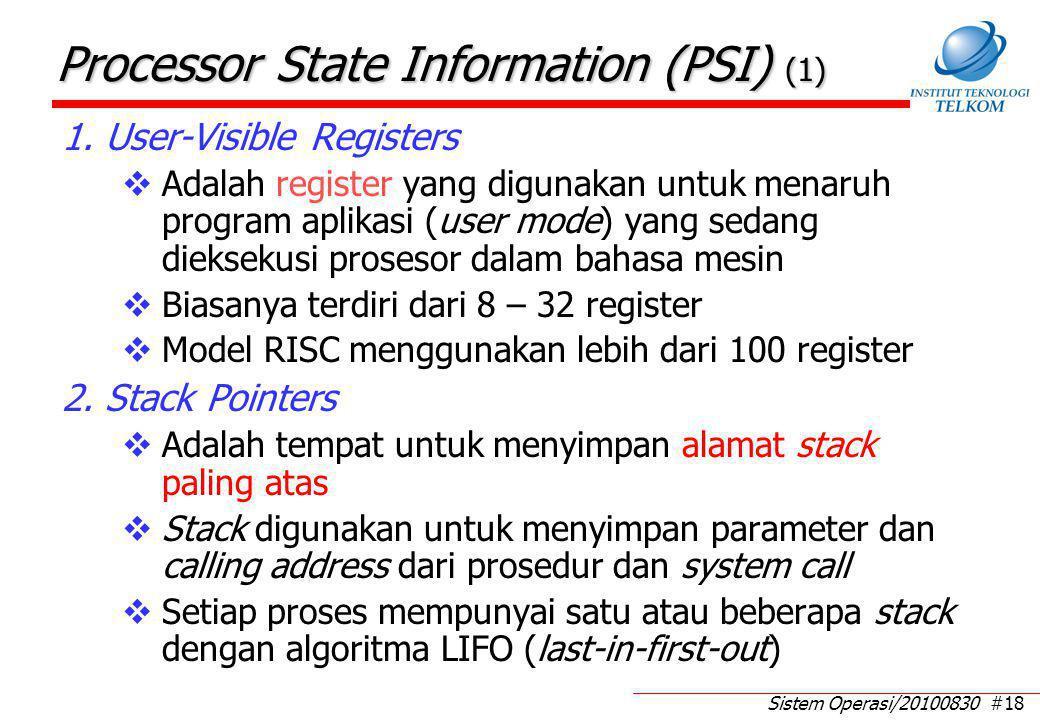 Sistem Operasi/20100830 #18 Processor State Information (PSI) (1) 1. User-Visible Registers  Adalah register yang digunakan untuk menaruh program apl