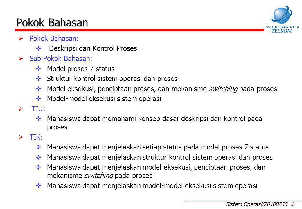 Sistem Operasi/20100830 #1 Pokok Bahasan  Pokok Bahasan:  Deskripsi dan Kontrol Proses  Sub Pokok Bahasan:  Model proses 7 status  Struktur kontr