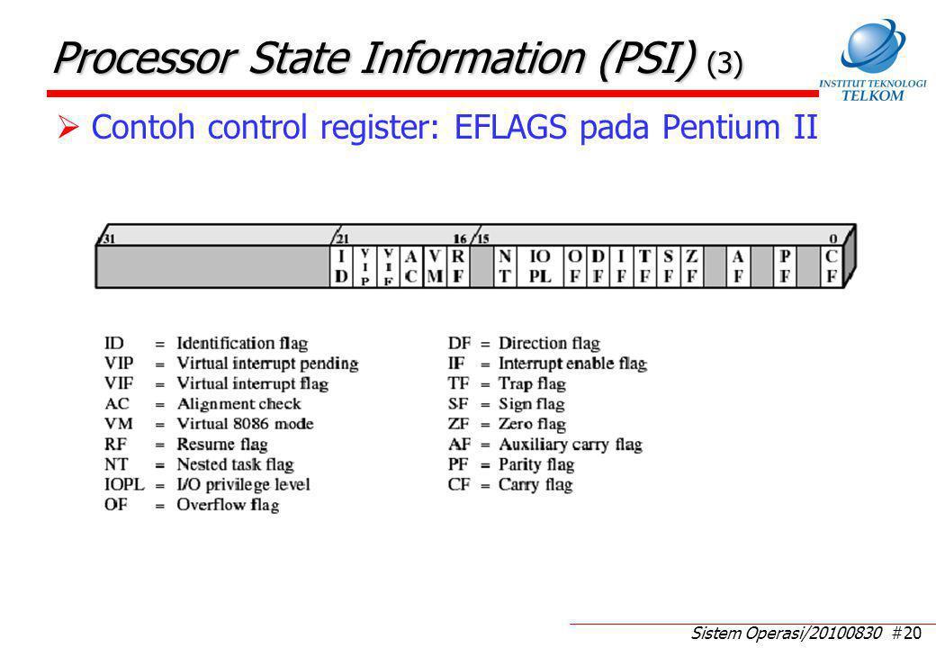 Sistem Operasi/20100830 #20 Processor State Information (PSI) (3)  Contoh control register: EFLAGS pada Pentium II