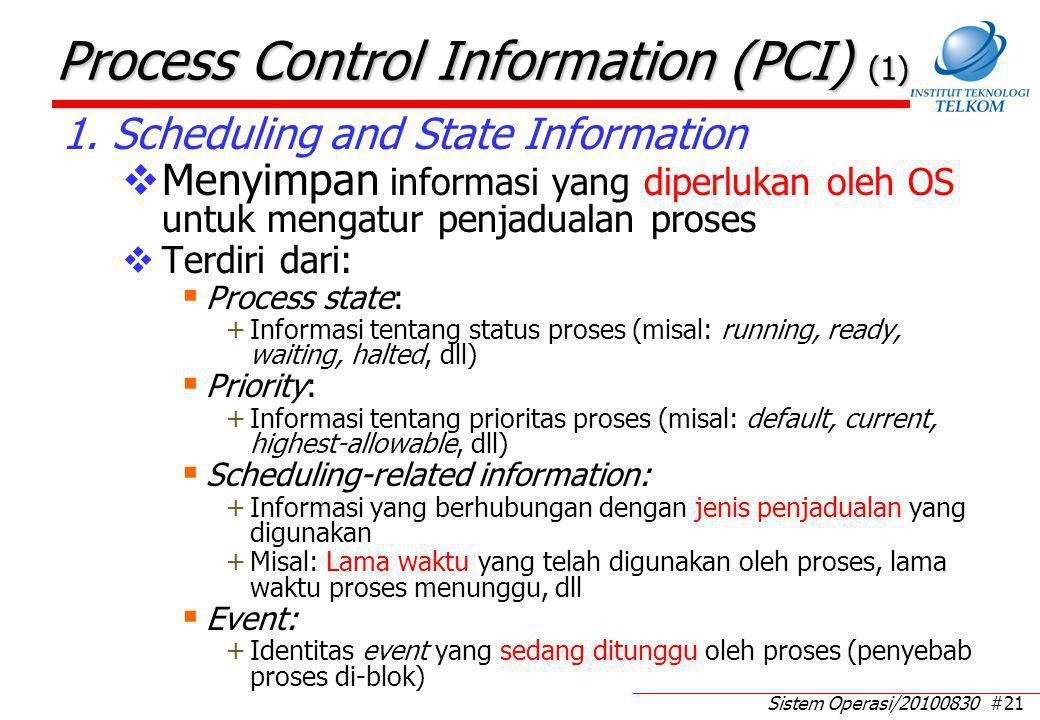 Sistem Operasi/20100830 #21 Process Control Information (PCI) (1) 1. Scheduling and State Information  Menyimpan informasi yang diperlukan oleh OS un