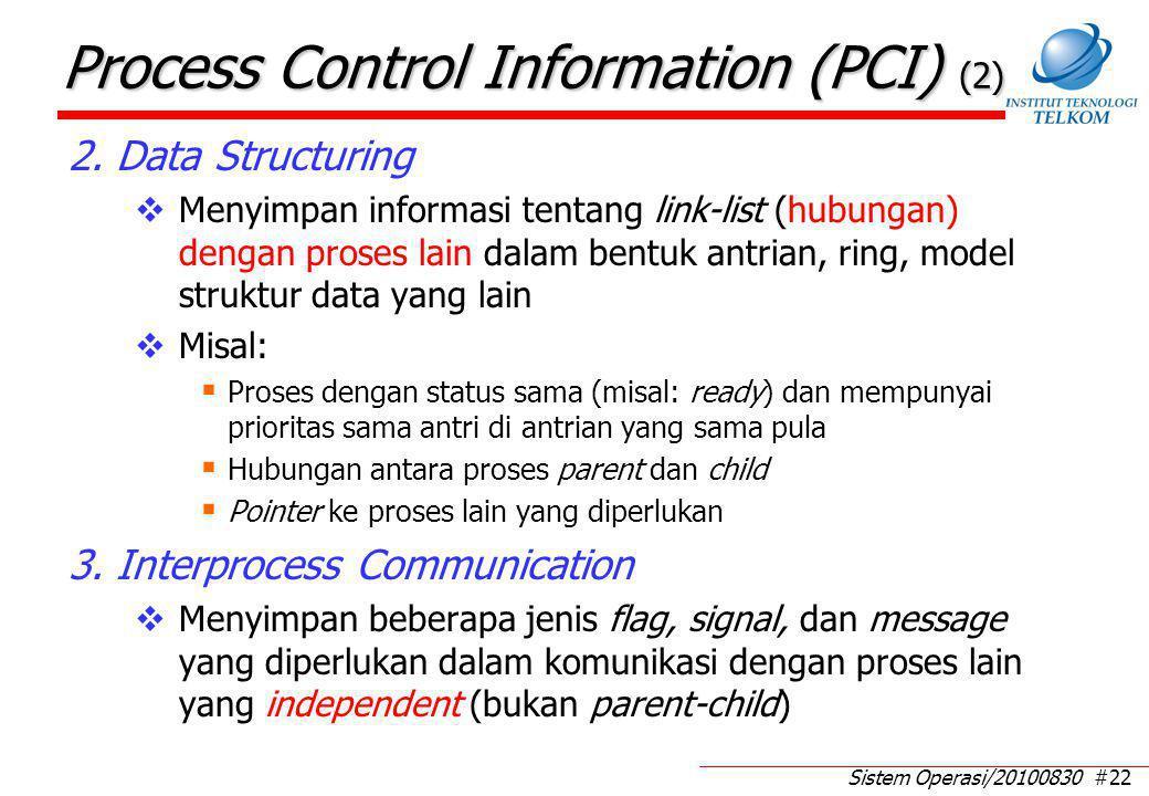 Sistem Operasi/20100830 #22 Process Control Information (PCI) (2) 2. Data Structuring  Menyimpan informasi tentang link-list (hubungan) dengan proses