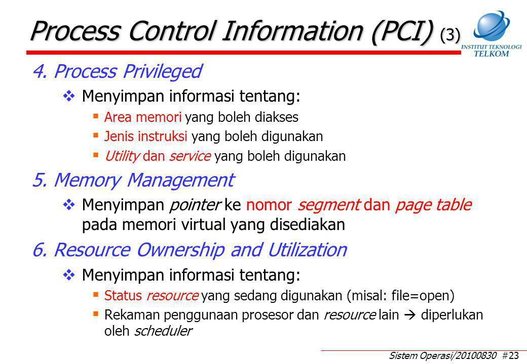 Sistem Operasi/20100830 #23 Process Control Information (PCI) (3) 4. Process Privileged  Menyimpan informasi tentang:  Area memori yang boleh diakse