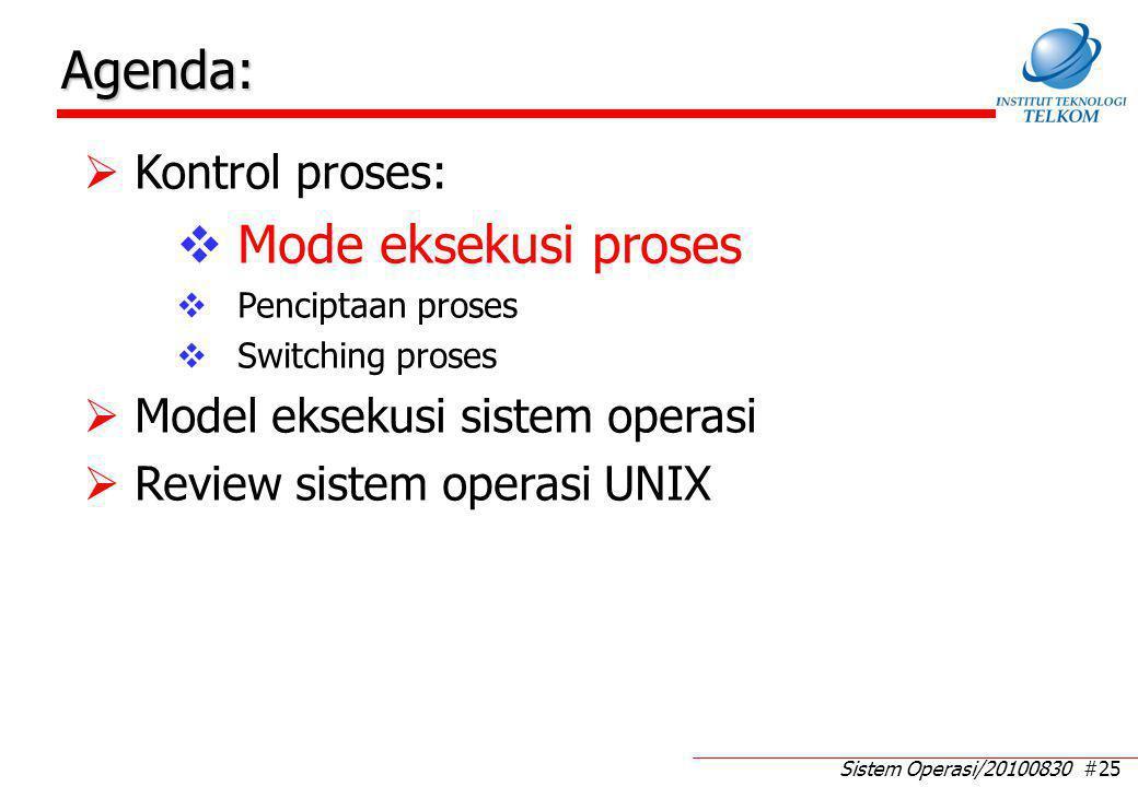 Sistem Operasi/20100830 #25 Agenda:  Kontrol proses:  Mode eksekusi proses  Penciptaan proses  Switching proses  Model eksekusi sistem operasi 