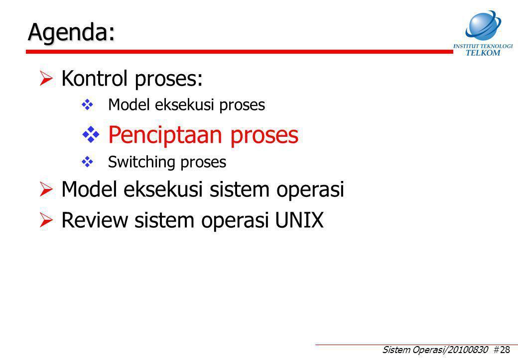 Sistem Operasi/20100830 #28 Agenda:  Kontrol proses:  Model eksekusi proses  Penciptaan proses  Switching proses  Model eksekusi sistem operasi  Review sistem operasi UNIX