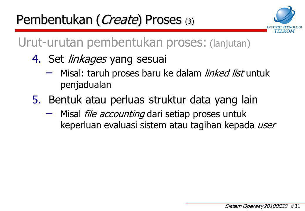 Sistem Operasi/20100830 #31 Pembentukan (Create) Proses (3) Urut-urutan pembentukan proses: (lanjutan) 4.Set linkages yang sesuai – Misal: taruh prose