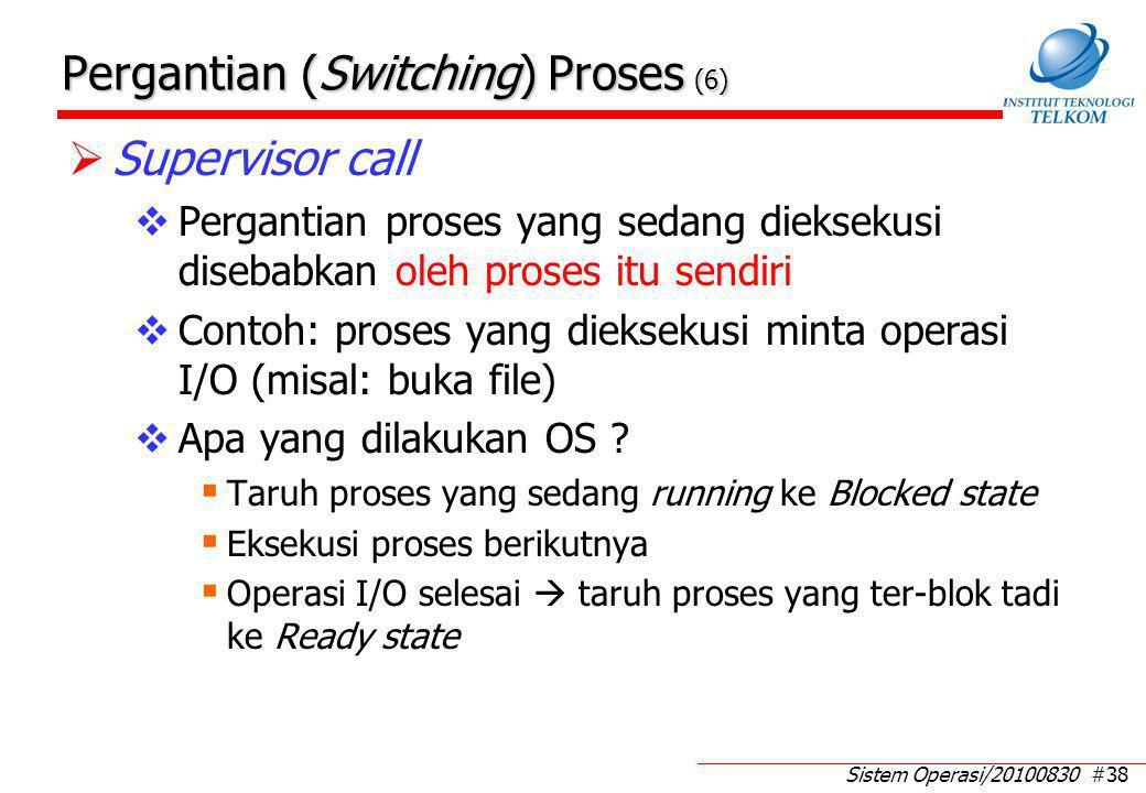 Sistem Operasi/20100830 #38 Pergantian (Switching) Proses (6)  Supervisor call  Pergantian proses yang sedang dieksekusi disebabkan oleh proses itu