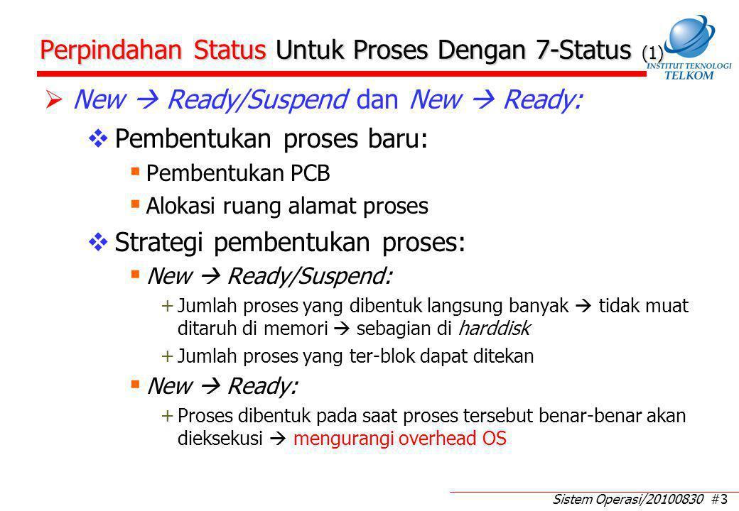 Sistem Operasi/20100830 #3 Perpindahan Status Untuk Proses Dengan 7-Status (1)  New  Ready/Suspend dan New  Ready:  Pembentukan proses baru:  Pembentukan PCB  Alokasi ruang alamat proses  Strategi pembentukan proses:  New  Ready/Suspend: +Jumlah proses yang dibentuk langsung banyak  tidak muat ditaruh di memori  sebagian di harddisk +Jumlah proses yang ter-blok dapat ditekan  New  Ready: +Proses dibentuk pada saat proses tersebut benar-benar akan dieksekusi  mengurangi overhead OS