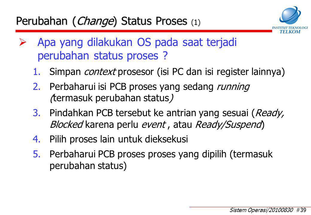 Sistem Operasi/20100830 #39 Perubahan (Change) Status Proses (1)  Apa yang dilakukan OS pada saat terjadi perubahan status proses ? 1.Simpan context