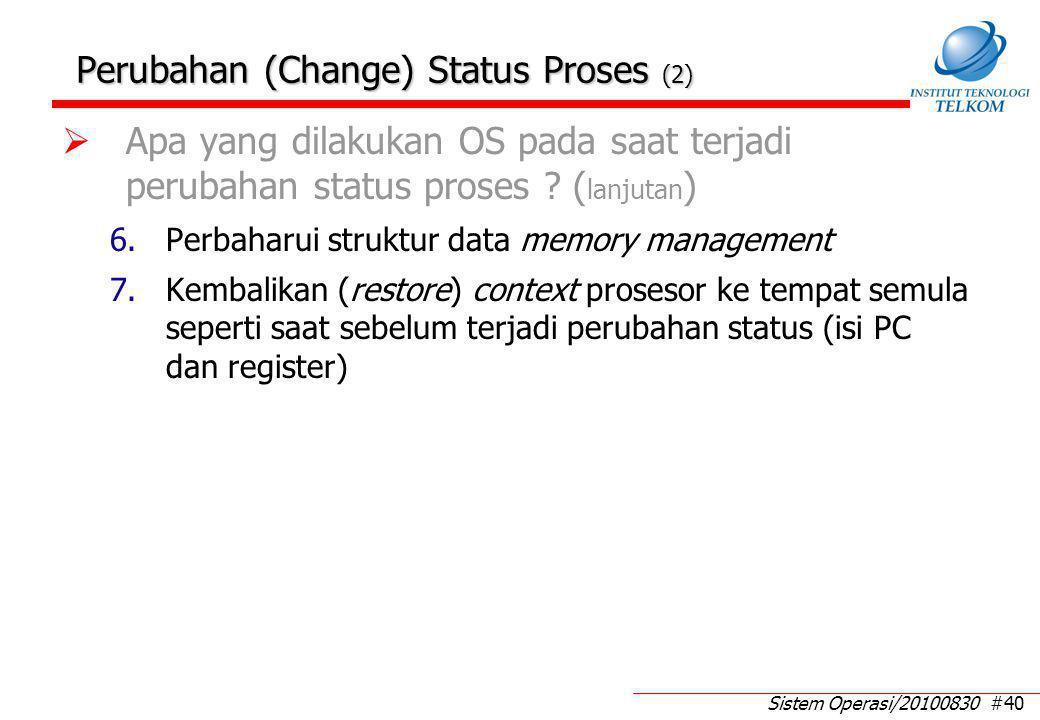 Sistem Operasi/20100830 #40  Apa yang dilakukan OS pada saat terjadi perubahan status proses ? ( lanjutan ) 6.Perbaharui struktur data memory managem
