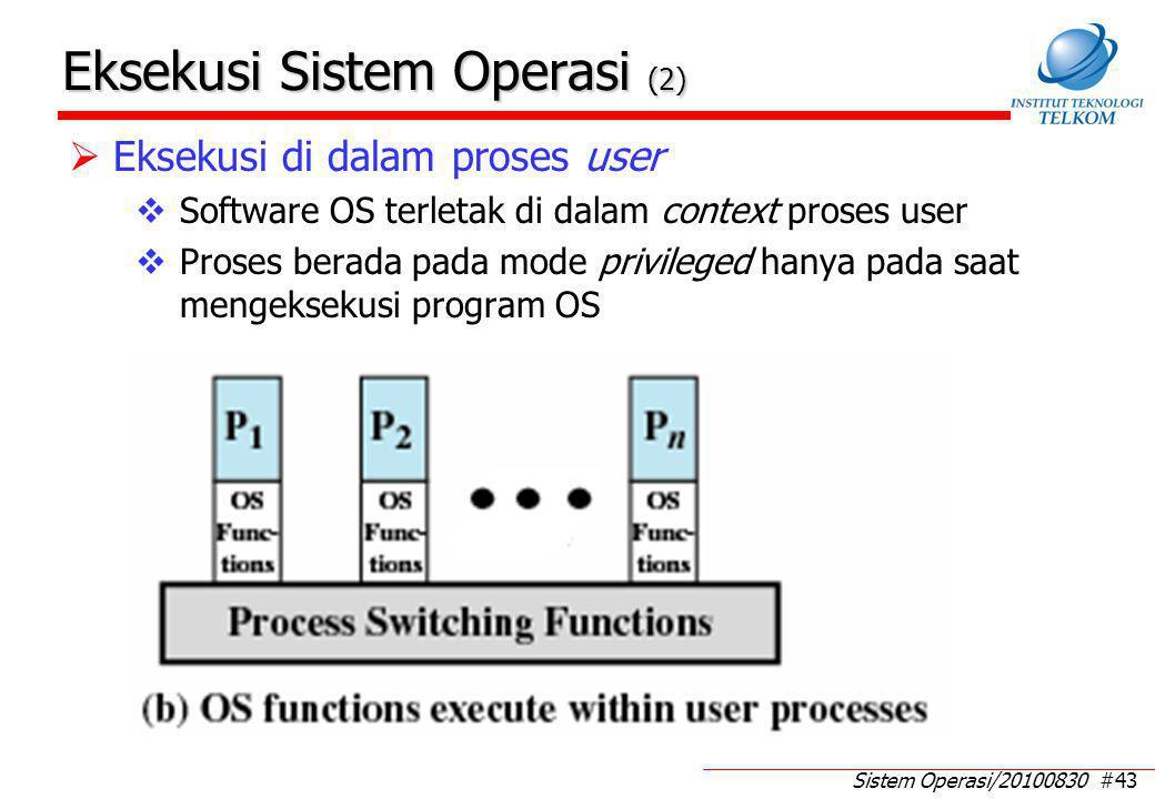 Sistem Operasi/20100830 #43 Eksekusi Sistem Operasi (2)  Eksekusi di dalam proses user  Software OS terletak di dalam context proses user  Proses berada pada mode privileged hanya pada saat mengeksekusi program OS