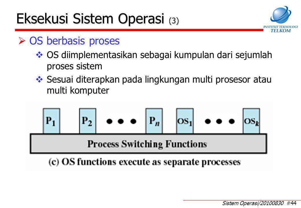 Sistem Operasi/20100830 #44 Eksekusi Sistem Operasi (3)  OS berbasis proses  OS diimplementasikan sebagai kumpulan dari sejumlah proses sistem  Sesuai diterapkan pada lingkungan multi prosesor atau multi komputer