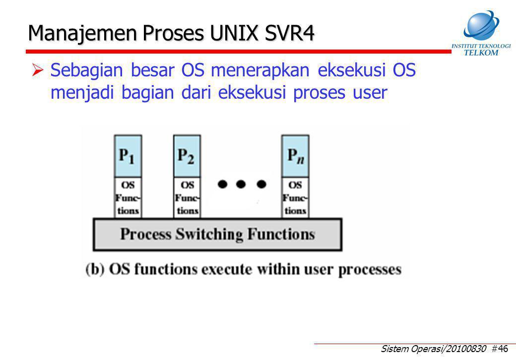 Sistem Operasi/20100830 #46 Manajemen Proses UNIX SVR4  Sebagian besar OS menerapkan eksekusi OS menjadi bagian dari eksekusi proses user