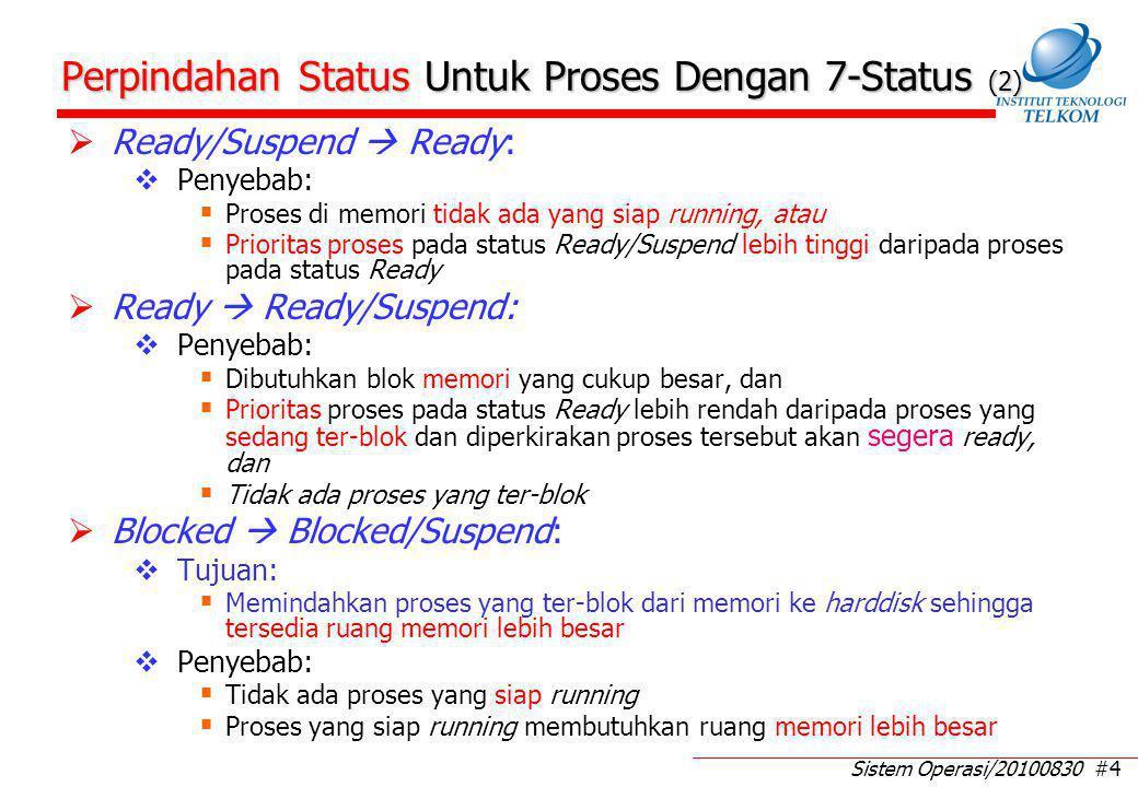 Sistem Operasi/20100830 #4 Perpindahan Status Untuk Proses Dengan 7-Status (2)  Ready/Suspend  Ready:  Penyebab:  Proses di memori tidak ada yang siap running, atau  Prioritas proses pada status Ready/Suspend lebih tinggi daripada proses pada status Ready  Ready  Ready/Suspend:  Penyebab:  Dibutuhkan blok memori yang cukup besar, dan  Prioritas proses pada status Ready lebih rendah daripada proses yang sedang ter-blok dan diperkirakan proses tersebut akan segera ready, dan  Tidak ada proses yang ter-blok  Blocked  Blocked/Suspend:  Tujuan:  Memindahkan proses yang ter-blok dari memori ke harddisk sehingga tersedia ruang memori lebih besar  Penyebab:  Tidak ada proses yang siap running  Proses yang siap running membutuhkan ruang memori lebih besar