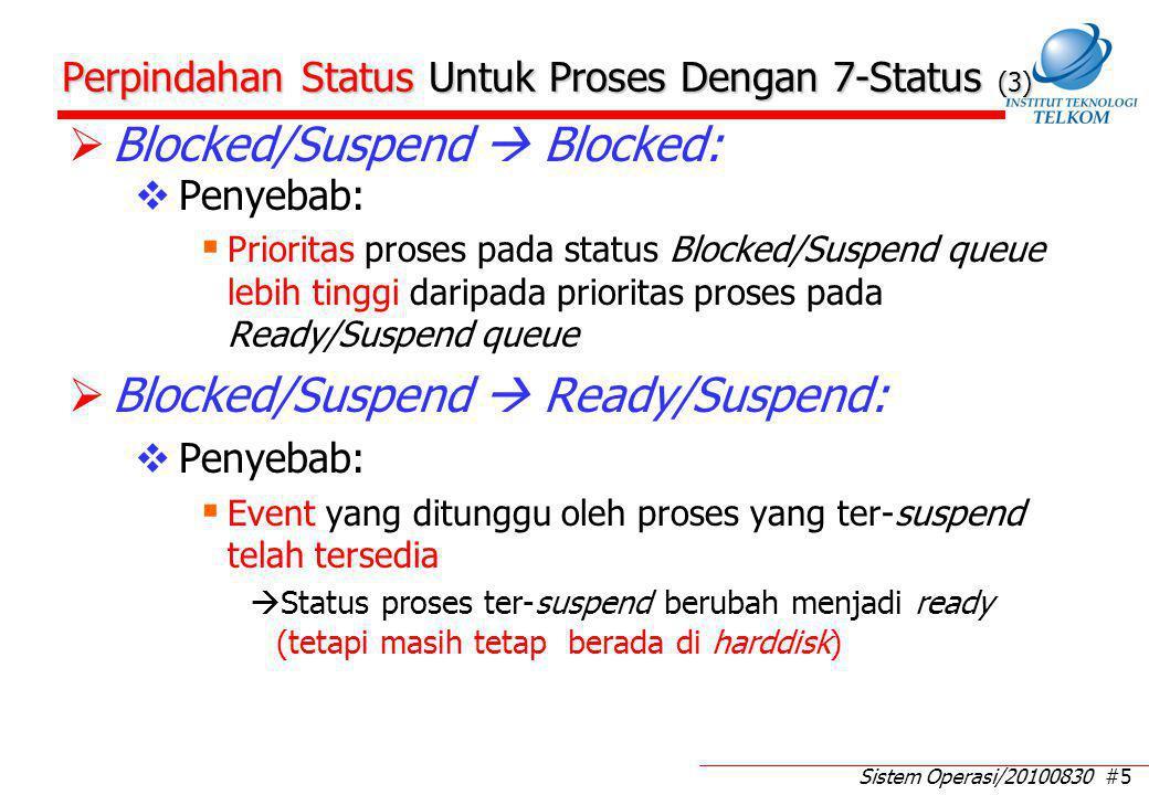 Sistem Operasi/20100830 #5 Perpindahan Status Untuk Proses Dengan 7-Status (3)  Blocked/Suspend  Blocked:  Penyebab:  Prioritas proses pada status