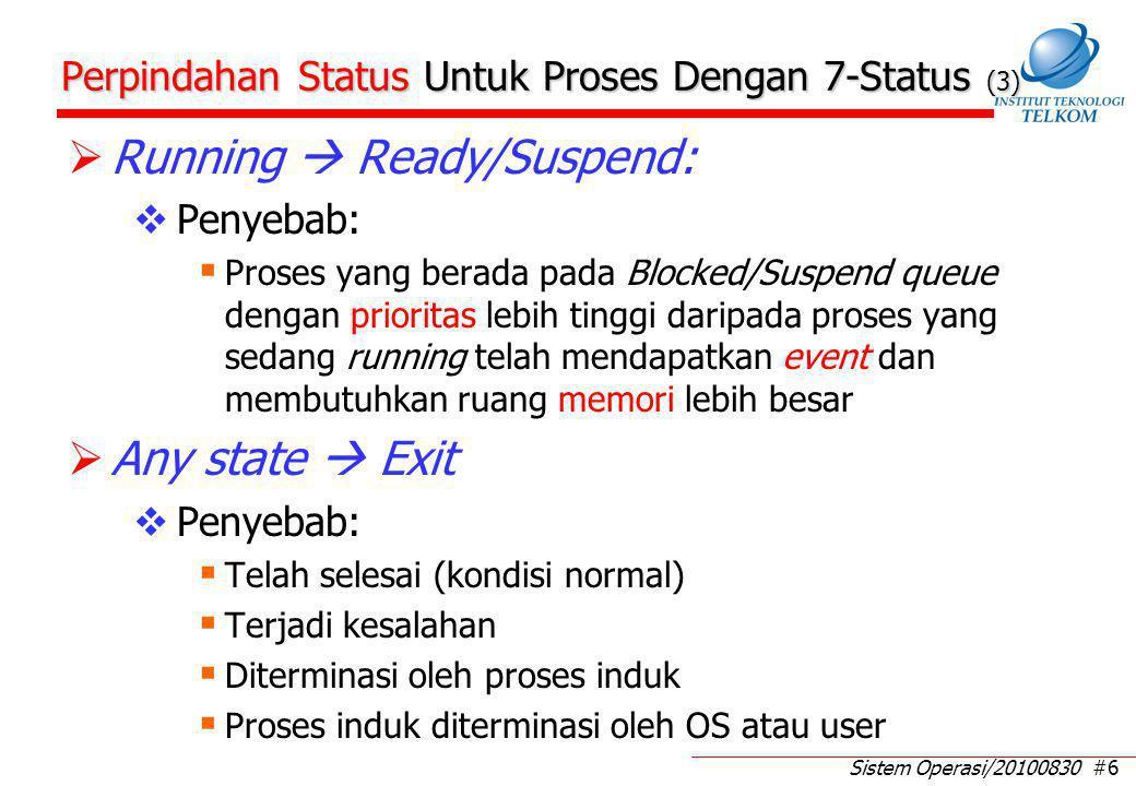 Sistem Operasi/20100830 #6 Perpindahan Status Untuk Proses Dengan 7-Status (3)  Running  Ready/Suspend:  Penyebab:  Proses yang berada pada Blocke