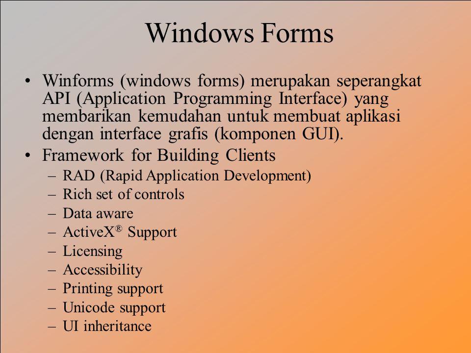 Windows Forms Winforms (windows forms) merupakan seperangkat API (Application Programming Interface) yang membarikan kemudahan untuk membuat aplikasi dengan interface grafis (komponen GUI).