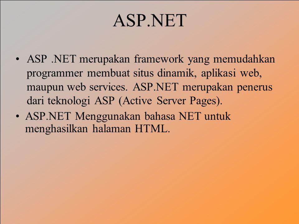 ASP.NET ASP.NET merupakan framework yang memudahkan programmer membuat situs dinamik, aplikasi web, maupun web services. ASP.NET merupakan penerus dar