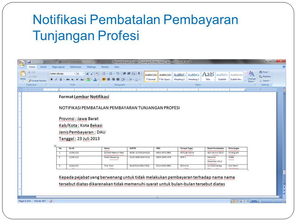 Notifikasi Pembatalan Pembayaran Tunjangan Profesi