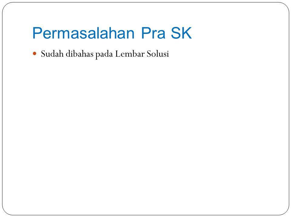 Permasalahan Pasca SK Permasalahan Kesalahan Nomimal Gaji Pokok pada SK TP Penyebab Kesalahan pada Pengisian Riwayat Kepangkatan dan Riwayat Gaji Berkala Solusi Penyesuaian pada SPM dengan melampirkan SK-KGB per des 2012.