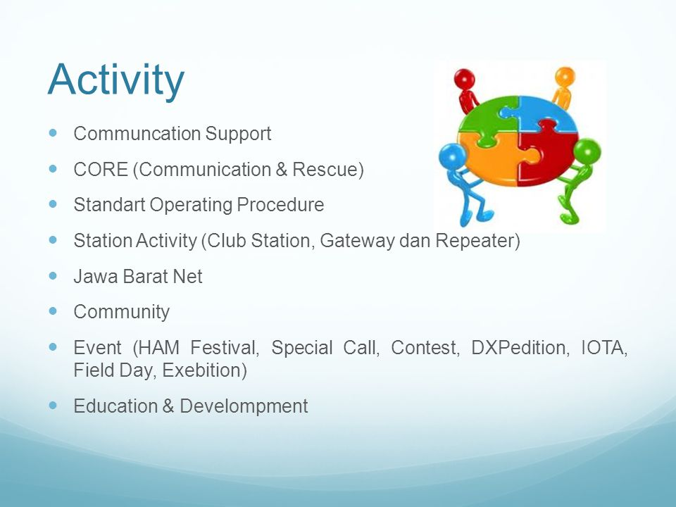Activity Communcation Support CORE (Communication & Rescue) Standart Operating Procedure Station Activity (Club Station, Gateway dan Repeater) Jawa Barat Net Community Event (HAM Festival, Special Call, Contest, DXPedition, IOTA, Field Day, Exebition) Education & Develompment