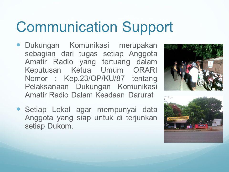 Communication Support Dukungan Komunikasi merupakan sebagian dari tugas setiap Anggota Amatir Radio yang tertuang dalam Keputusan Ketua Umum ORARI Nom
