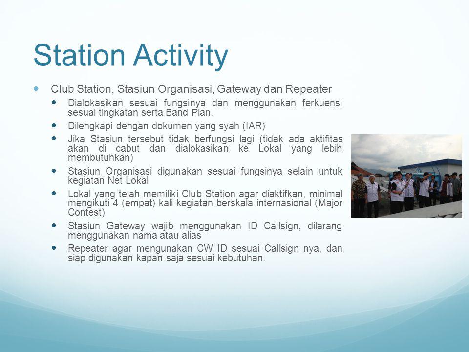 Station Activity Club Station, Stasiun Organisasi, Gateway dan Repeater Dialokasikan sesuai fungsinya dan menggunakan ferkuensi sesuai tingkatan serta