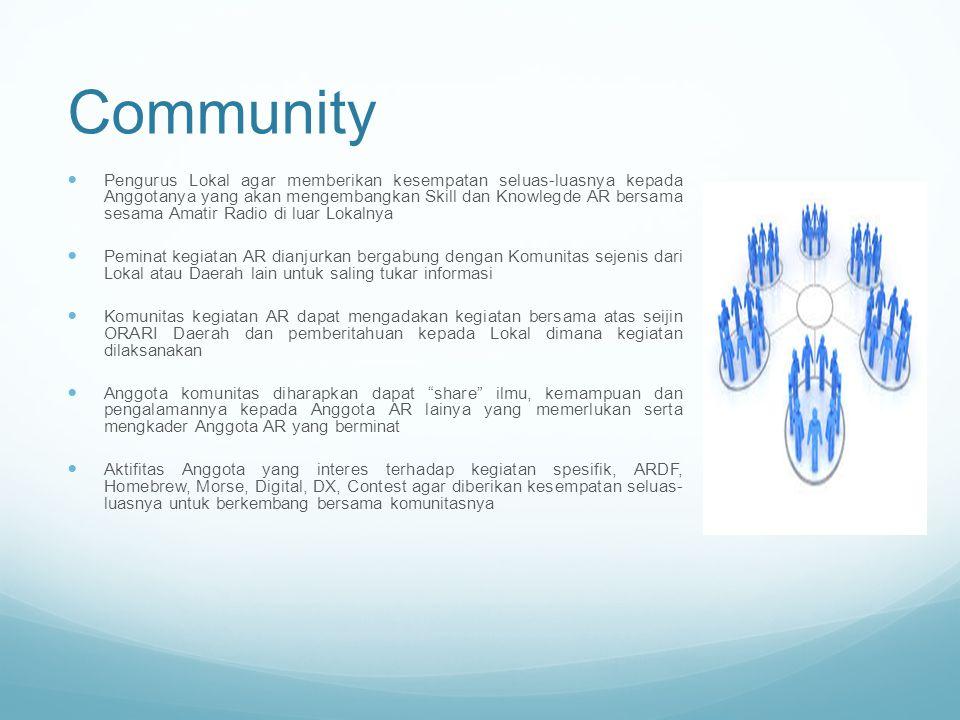 Community Pengurus Lokal agar memberikan kesempatan seluas-luasnya kepada Anggotanya yang akan mengembangkan Skill dan Knowlegde AR bersama sesama Ama
