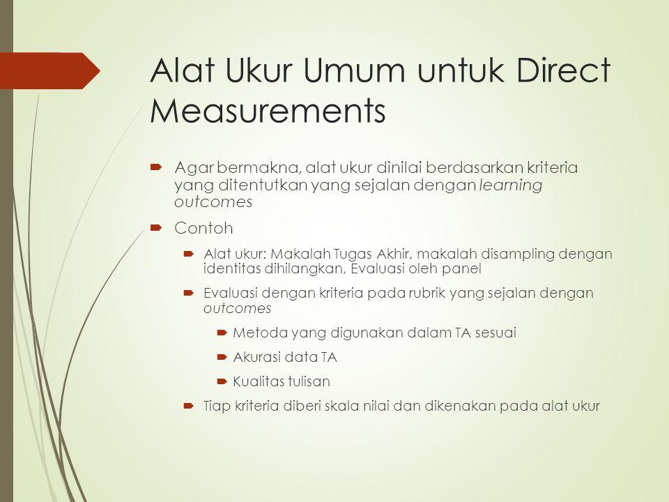 Alat Ukur Umum untuk Direct Measurements  Agar bermakna, alat ukur dinilai berdasarkan kriteria yang ditentutkan yang sejalan dengan learning outcome
