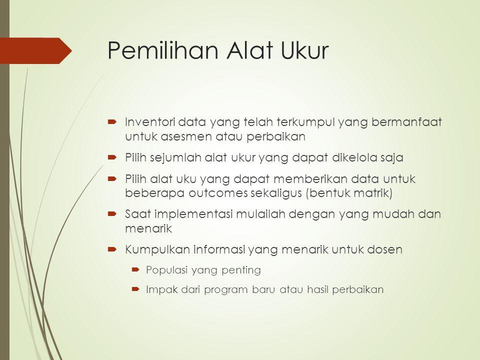 Pemilihan Alat Ukur  Inventori data yang telah terkumpul yang bermanfaat untuk asesmen atau perbaikan  Pilih sejumlah alat ukur yang dapat dikelola