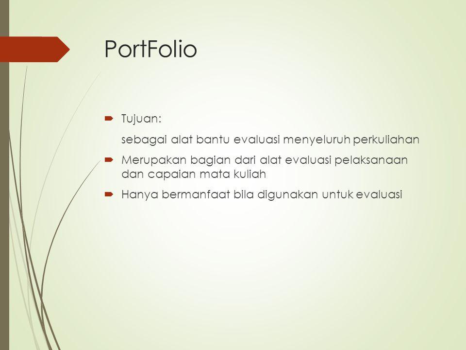 PortFolio  Tujuan: sebagai alat bantu evaluasi menyeluruh perkuliahan  Merupakan bagian dari alat evaluasi pelaksanaan dan capaian mata kuliah  Han