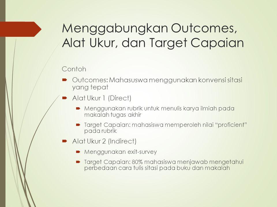 Menggabungkan Outcomes, Alat Ukur, dan Target Capaian Contoh  Outcomes: Mahasuswa menggunakan konvensi sitasi yang tepat  Alat Ukur 1 (Direct)  Men