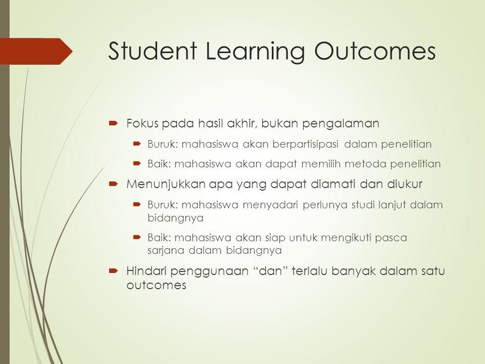 Student Learning Outcomes  Fokus pada hasil akhir, bukan pengalaman  Buruk: mahasiswa akan berpartisipasi dalam penelitian  Baik: mahasiswa akan da