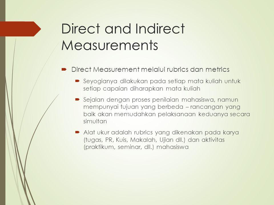 Direct and Indirect Measurements  Direct Measurement melalui rubrics dan metrics  Seyogianya dilakukan pada setiap mata kuliah untuk setiap capaian