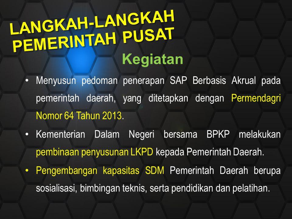 Kegiatan Menyusun pedoman penerapan SAP Berbasis Akrual pada pemerintah daerah, yang ditetapkan dengan Permendagri Nomor 64 Tahun 2013. Kementerian Da