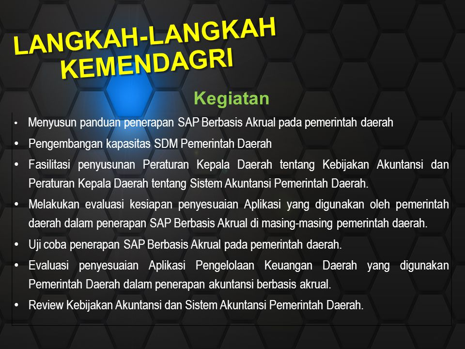 LANGKAH-LANGKAH KEMENDAGRI Kegiatan Menyusun panduan penerapan SAP Berbasis Akrual pada pemerintah daerah Pengembangan kapasitas SDM Pemerintah Daerah