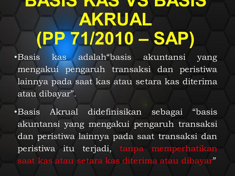 """BASIS KAS VS BASIS AKRUAL (PP 71/2010 – SAP) Basis kas adalah""""basis akuntansi yang mengakui pengaruh transaksi dan peristiwa lainnya pada saat kas ata"""