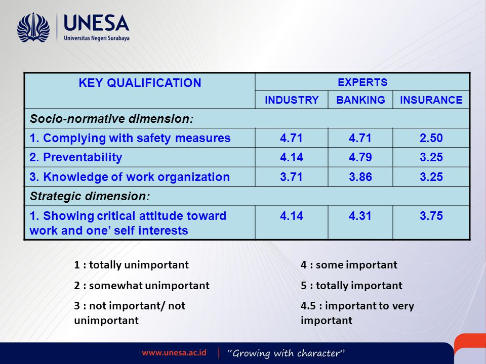 KEY QUALIFICATION EXPERTS INDUSTRYBANKINGINSURANCE Socio-normative dimension: 1.