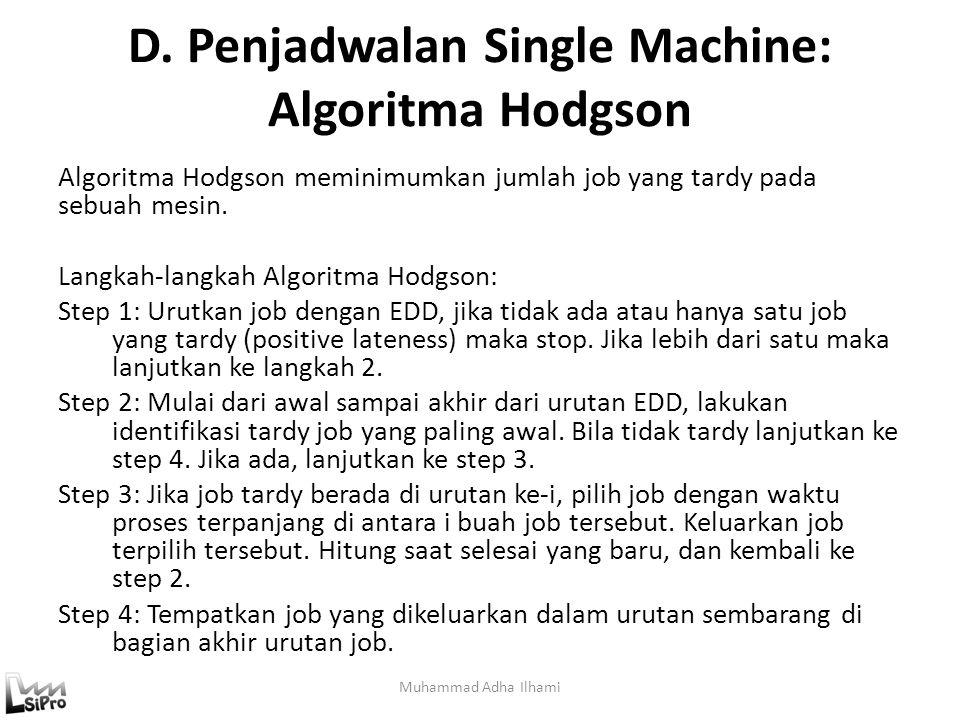 D. Penjadwalan Single Machine: Algoritma Hodgson Muhammad Adha Ilhami Algoritma Hodgson meminimumkan jumlah job yang tardy pada sebuah mesin. Langkah-