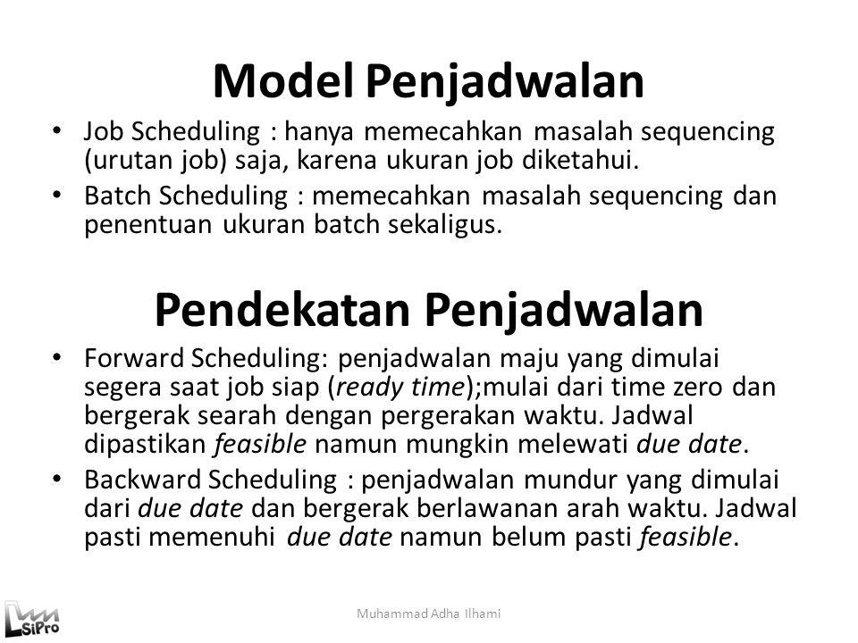 Model Penjadwalan Muhammad Adha Ilhami Job Scheduling : hanya memecahkan masalah sequencing (urutan job) saja, karena ukuran job diketahui. Batch Sche