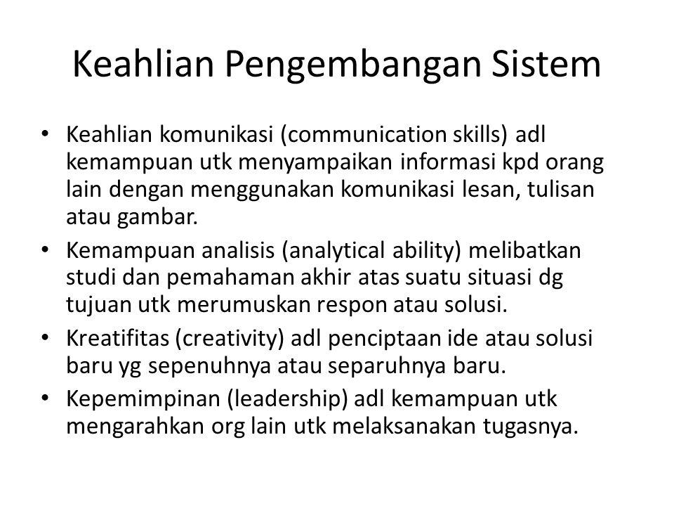 Keahlian Pengembangan Sistem Keahlian komunikasi (communication skills) adl kemampuan utk menyampaikan informasi kpd orang lain dengan menggunakan kom