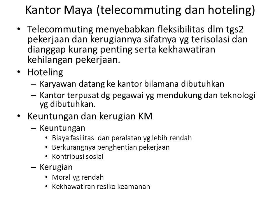 Kantor Maya (telecommuting dan hoteling) Telecommuting menyebabkan fleksibilitas dlm tgs2 pekerjaan dan kerugiannya sifatnya yg terisolasi dan diangga