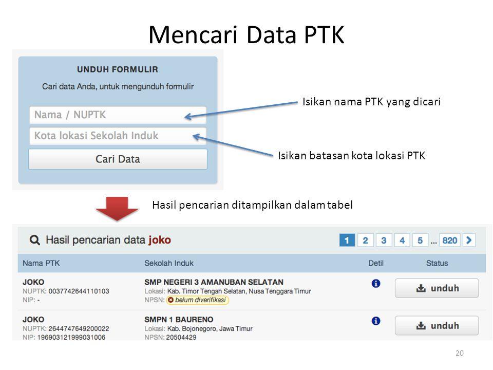 Mencari Data PTK 20 Isikan nama PTK yang dicari Isikan batasan kota lokasi PTK Hasil pencarian ditampilkan dalam tabel