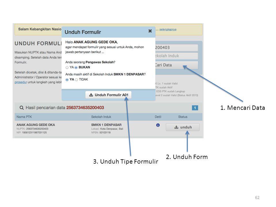 1. Mencari Data 2. Unduh Form 3. Unduh Tipe Formulir 62