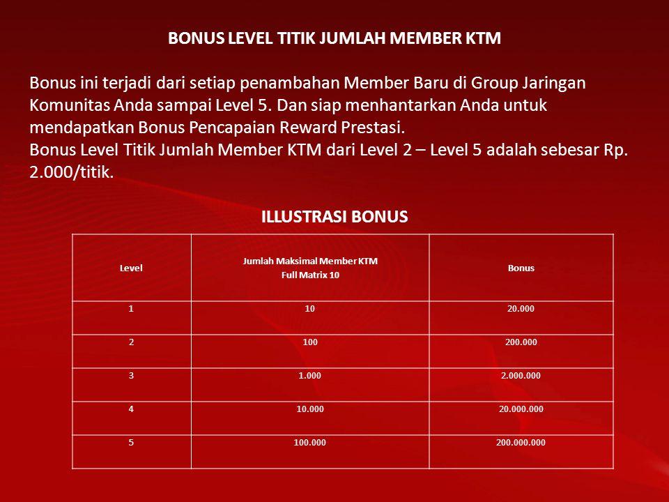 BONUS LEVEL TITIK JUMLAH MEMBER KTM Bonus ini terjadi dari setiap penambahan Member Baru di Group Jaringan Komunitas Anda sampai Level 5. Dan siap men