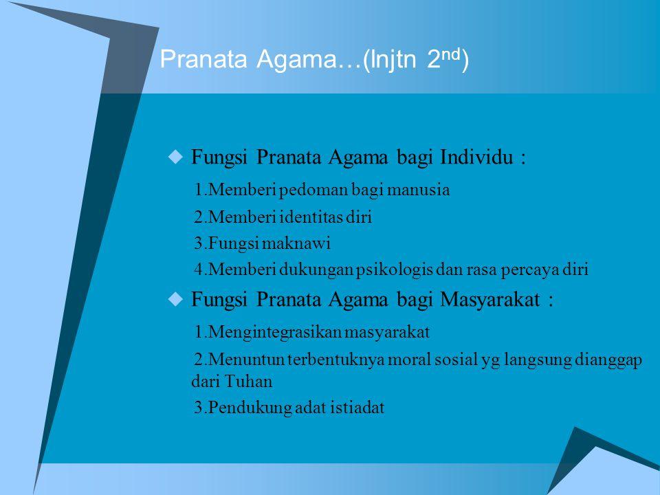 Pranata Agama…(lnjtn 2 nd )  Fungsi Pranata Agama bagi Individu : 1.Memberi pedoman bagi manusia 2.Memberi identitas diri 3.Fungsi maknawi 4.Memberi