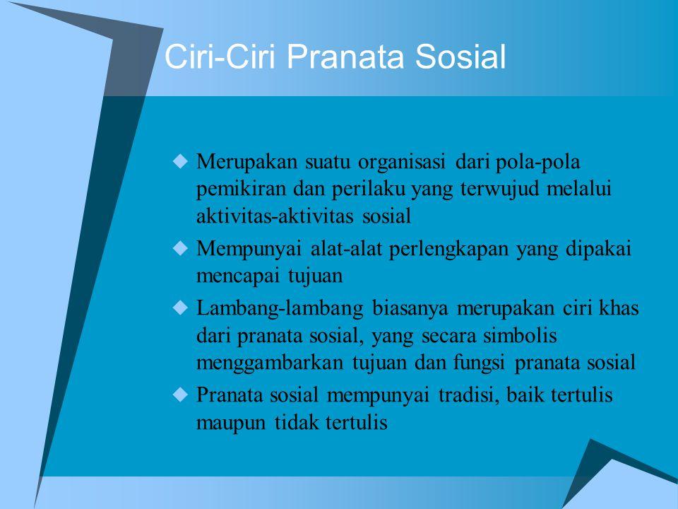 Ciri-Ciri Pranata Sosial  Merupakan suatu organisasi dari pola-pola pemikiran dan perilaku yang terwujud melalui aktivitas-aktivitas sosial  Mempuny