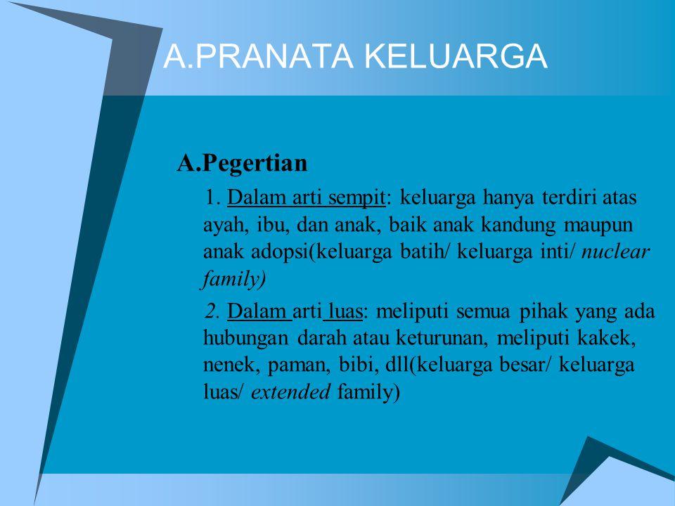 A.PRANATA KELUARGA A.Pegertian 1. Dalam arti sempit: keluarga hanya terdiri atas ayah, ibu, dan anak, baik anak kandung maupun anak adopsi(keluarga ba