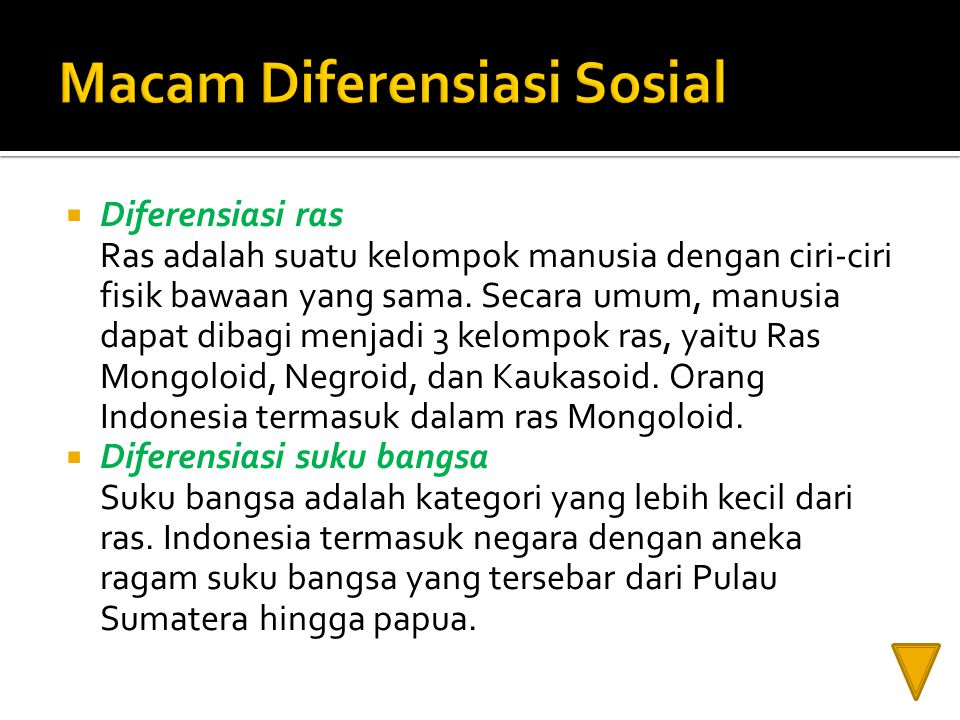  Diferensiasi ras Ras adalah suatu kelompok manusia dengan ciri-ciri fisik bawaan yang sama. Secara umum, manusia dapat dibagi menjadi 3 kelompok ras