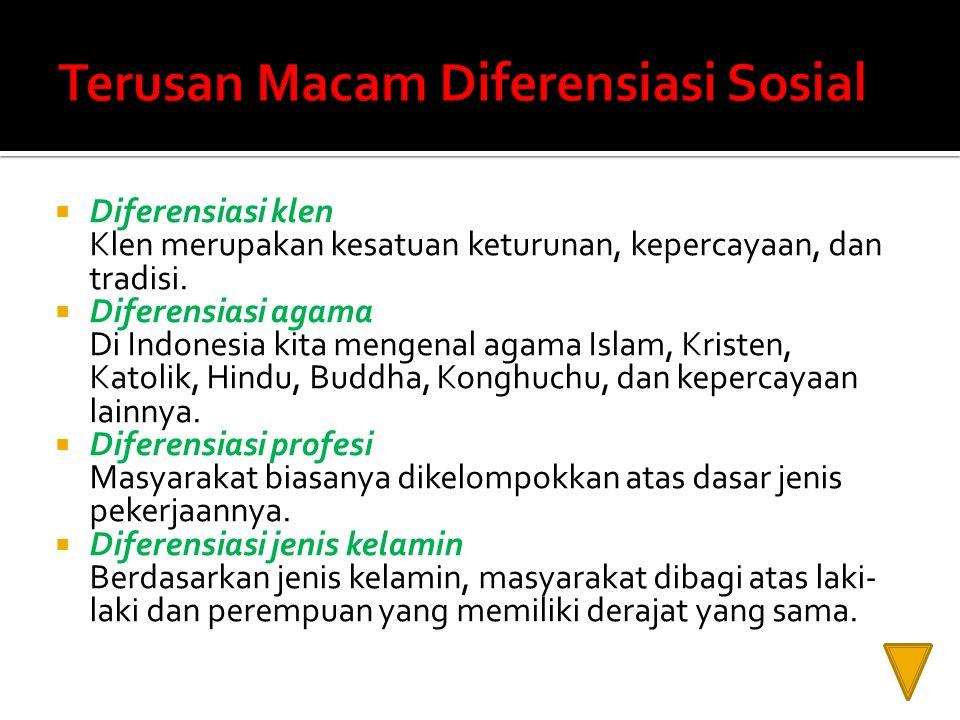  Diferensiasi klen Klen merupakan kesatuan keturunan, kepercayaan, dan tradisi.  Diferensiasi agama Di Indonesia kita mengenal agama Islam, Kristen,